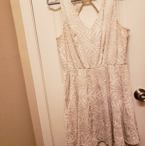Ivory cocktail dress with gold detailing